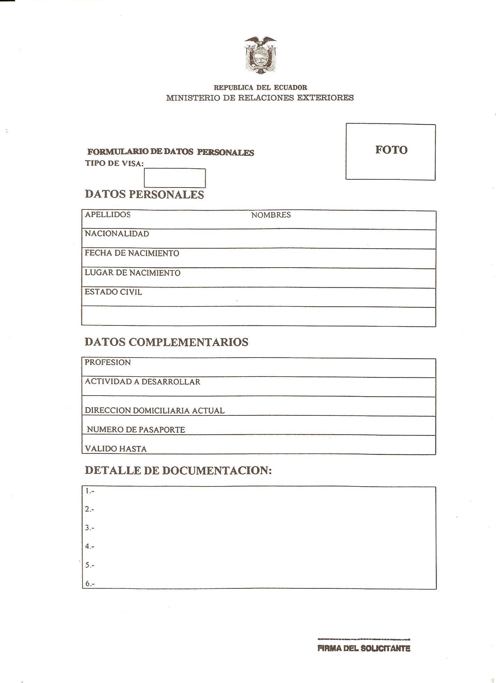 formulario visa: